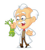 Professor Holding Frog — Stock Vector