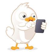 White Bird Holding Tablet PC — Stock Vector