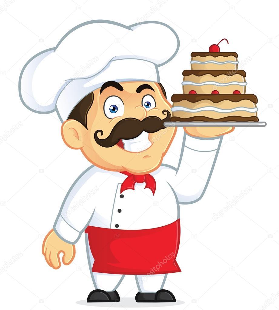 Chef con pastel de chocolate — Vector de stock © sundatoon