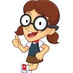 Girl Geek Leaning on an Empty Block — Stock Vector