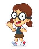 Girl geek agitando e camminare — Vettoriale Stock