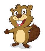 Beaver in welcoming gesture — Stock Vector