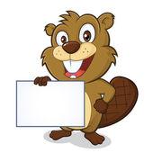 Beaver holding sign — Stok Vektör