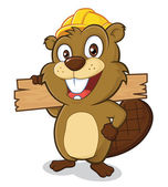 Beaver wearing a hard hat and holding a plank of wood — Stock Vector