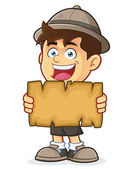 Boy Scout or Explorer Boy Holding a Blank Map — Stock Vector