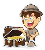 Boy Scout or Explorer Boy with a Treasure Chest — Stock Vector