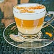 Coffee cappuccino in a glas cup. HDR picture — Stock Photo