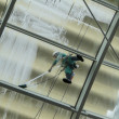 Stock Photo: Man at work, pressure washing a glass roof