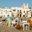Greek tavern at the harbour — Stock Photo