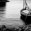 Sailing boat moored at Land — Stock Photo