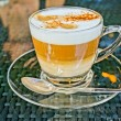 Coffee cappuccino in a glas cup. HDR picture — Stock Photo #39146457