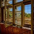 Stock Photo: Broken window in abandoned house, HDR picture
