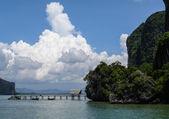Pier on a limestone island in Phang Nga bay, Thailand — Stock Photo