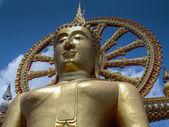 Sitting Buddha in gold - Wat Phra Yai. closeup — Stock Photo