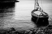Sailing boat moored at Land — Stock Photo