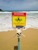 Warning sign with skull. strong currents — Stock Photo