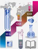 Four test tubes and bulbs — Stock Vector