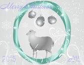 Christmas balls with sheep in the centre — Stock Vector