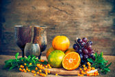 Still life with vegetables and fruits — Stock Photo