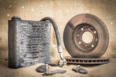 Useless, worn out and rusty suspension car parts — Stock Photo