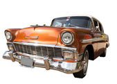 Old american car  isolated on a white background. — Stock Photo