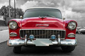 Old american car on black and white background — Stock Photo