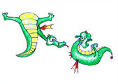 Vector: dragon-boy courting a cute dragon-girl — Stock Vector