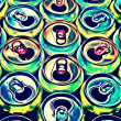 Stock Photo: Many colored beer cans