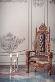 Dark wooden armchair — ストック写真