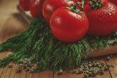 Rajčata a koprem — Stock fotografie