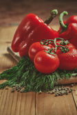 Tomatoes, bell pepper and dill — Foto Stock
