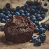 Muffin and blueberry — Stock Photo