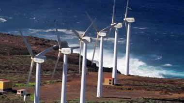 Wind Power Plant, Power Generator, Tenerife (Landscape) — Wideo stockowe