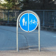 Stock Photo: Sign to separate promenade and biking area