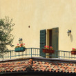 Stock Photo: Southside balcony at midday with olivetree