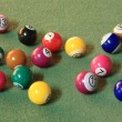 Stock Photo: Pool balls on green cloth - disorder