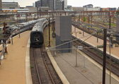 Trains leaving central railway station — Stock Photo