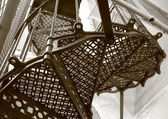 Upward look at old metal stairway — Stockfoto