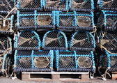 Storage of old worn fishing traps for eels — Stock Photo