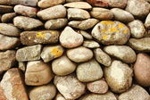 Solid  stonewall with round stones and alga — Stok fotoğraf