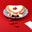 Valentines cake on the red background — Stock Photo #39529045