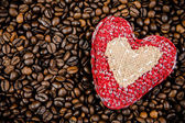 Handmade heart on the coffee beans — Stock Photo