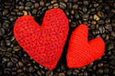 Two hearts on the coffee beans — Stock Photo