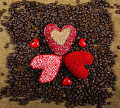Hearts on the coffee background — Stock Photo