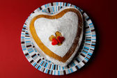 Cake in the shape of heart — Stock Photo