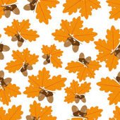Acorns With Oak Leaves in Autumn Seamless Texture — Stock Vector