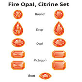 Fire Opal, Citrine Set With Text — Cтоковый вектор