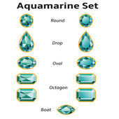 Aquamarine Set With Text — Stok Vektör