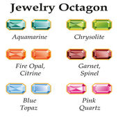 Jewelry Octagon Isolated Objects — Cтоковый вектор