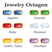 Jewelry Octagon. Isolated Objects — 图库矢量图片